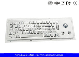 Brushed Metal Industrial Panel Mount Keyboard With 25mm Diameter Trackball